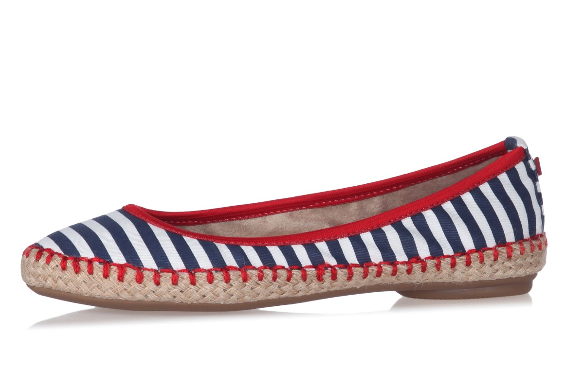 Butterfly Twists Gigi Navy White Stripe Flat Espadrille Ballet Shoes