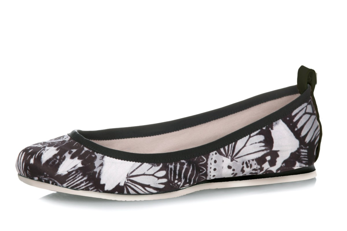 Butterfly Twists Heidi Mono Butterfly Print Black Memory Foam Flat Ballet Shoes