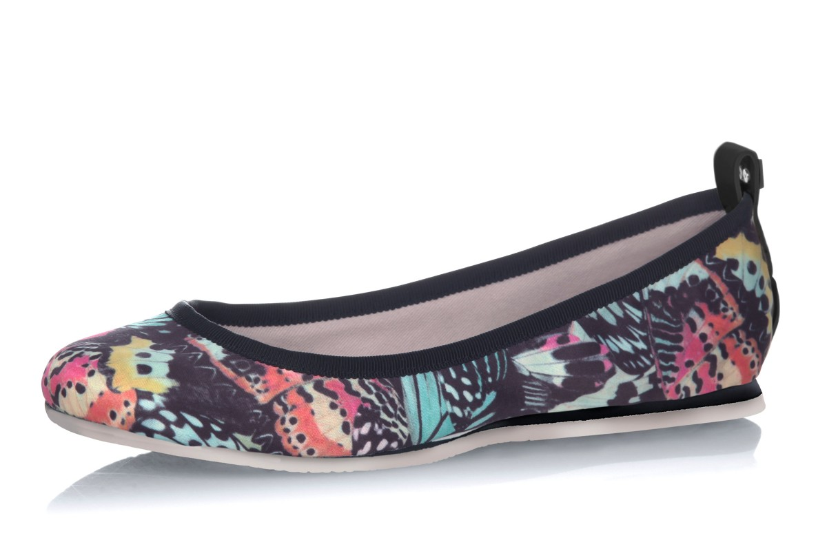 Butterfly Twists Heidi Multi Butterfly Print Black Memory Foam Flat Ballet Shoes