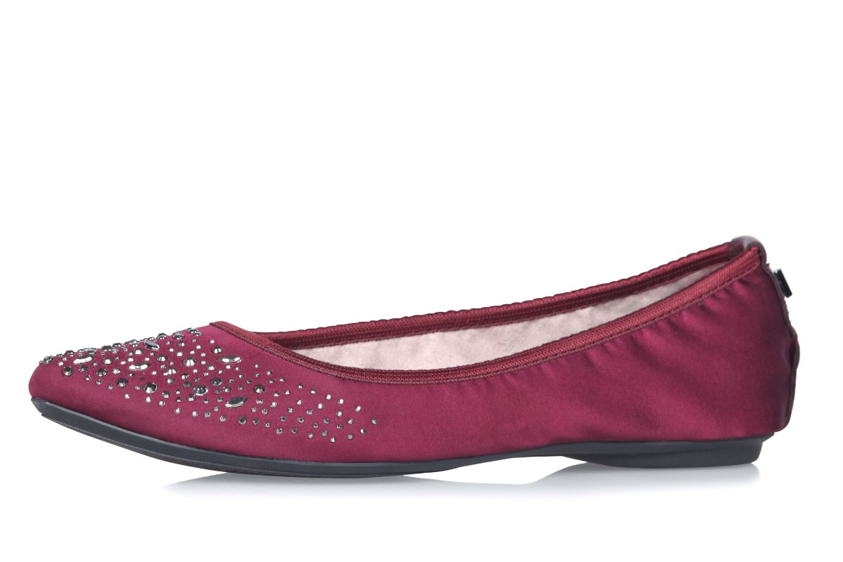 Butterfly Twists Janey Merlot Crystals Burgundy Memory Foam Flat Ballet Shoes