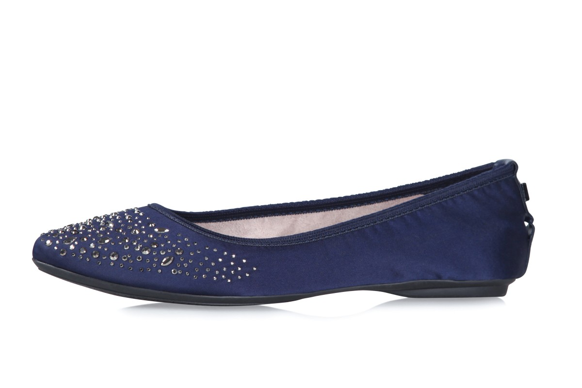 Butterfly Twists Janey Navy Crystals Memory Foam Flat Ballet Shoes