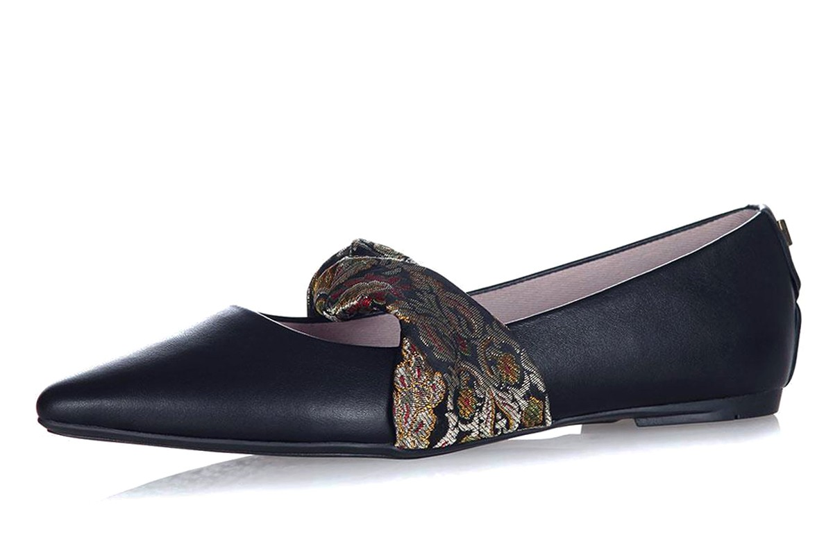 Butterfly Twists Lara Black Leather Gold Brocade Memory Foam Flat Mary Jane Shoes