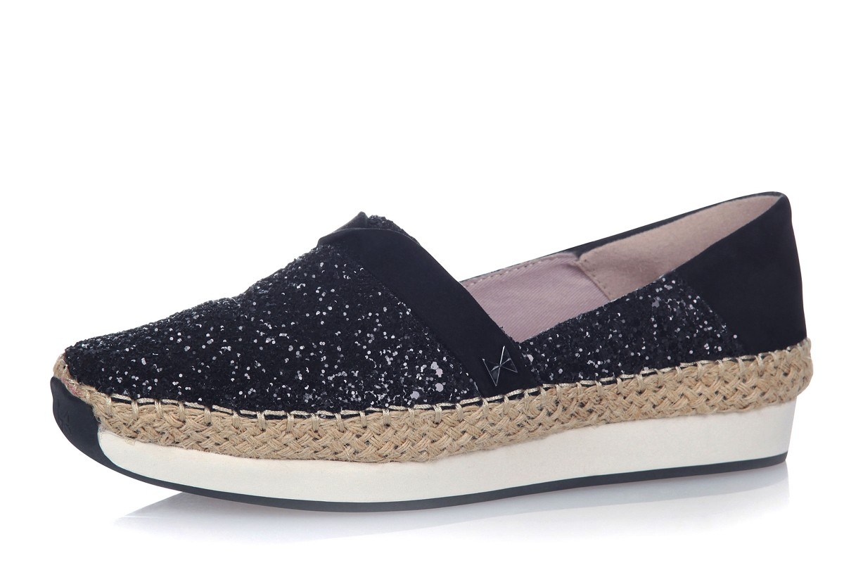 Butterfly Twists Maya Black Glitter Espadrille Memory Foam Flat Shoes