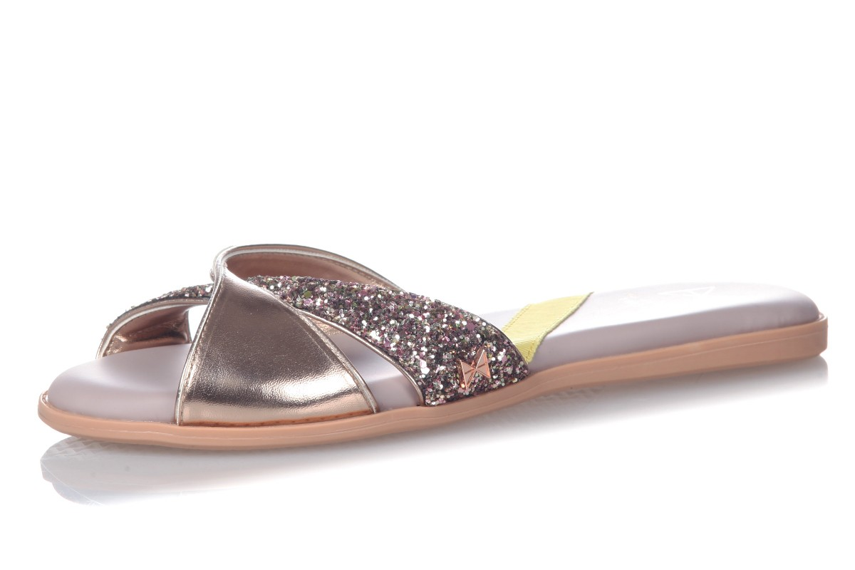 Butterfly Twists Ora Rose Gold Glitter Memory Foam Flip Flops Flat Sandals
