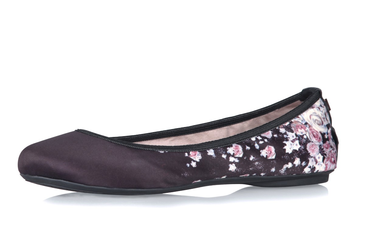 Butterfly Twists Sophia Black Scattered Floral Memory Foam Flat Ballet Shoes