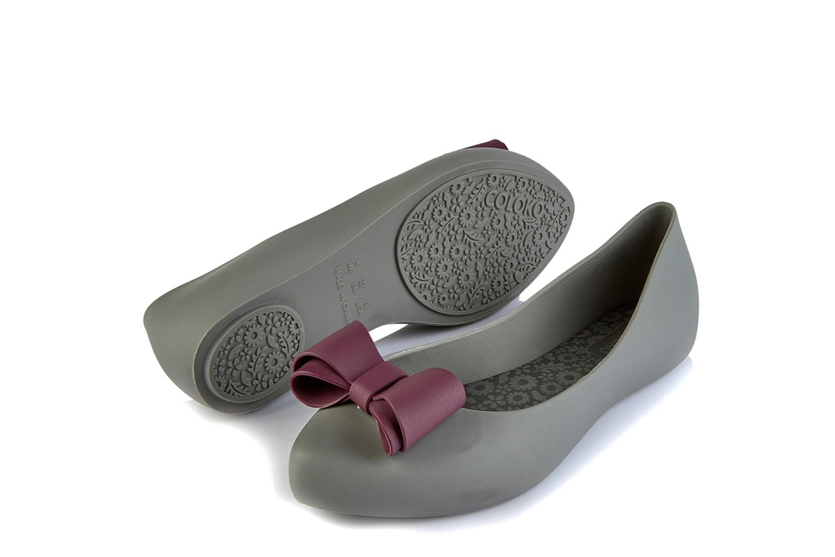 Coloko Calathea Grey Purple Bow Flat Ballet Shoes