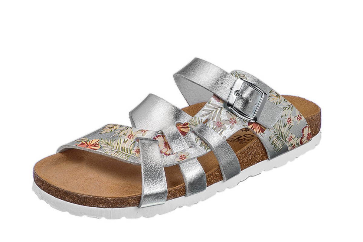 Cosmos 6108-702 Silver Floral Metallic Flat Open Toe Comfort Sandals