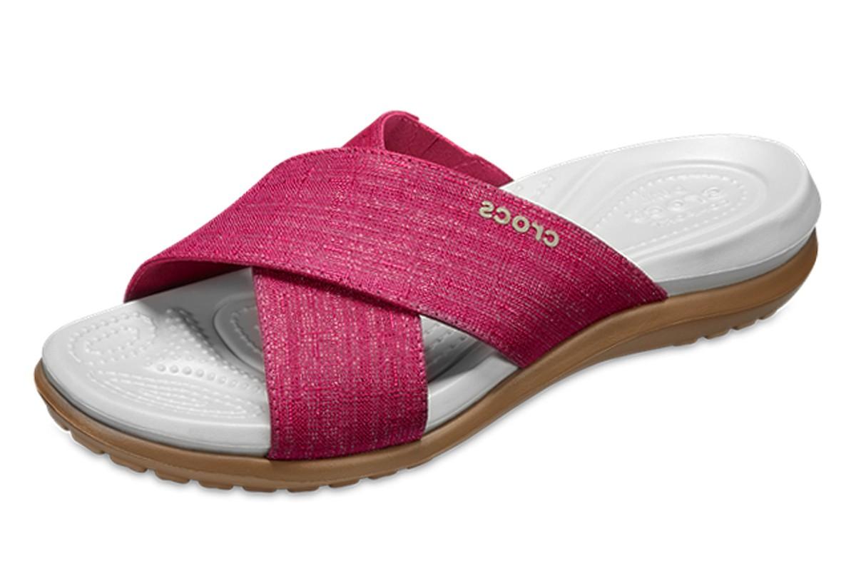 33e1b73ee Crocs Capri Shimmer Cross Band Paradise Pink Oyster Slide Comfort Sandals -  KissShoe