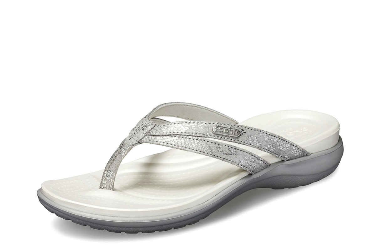 Crocs Capri Silver Strappy Flip Flop Women's Relaxed Fit Comfort Sandals
