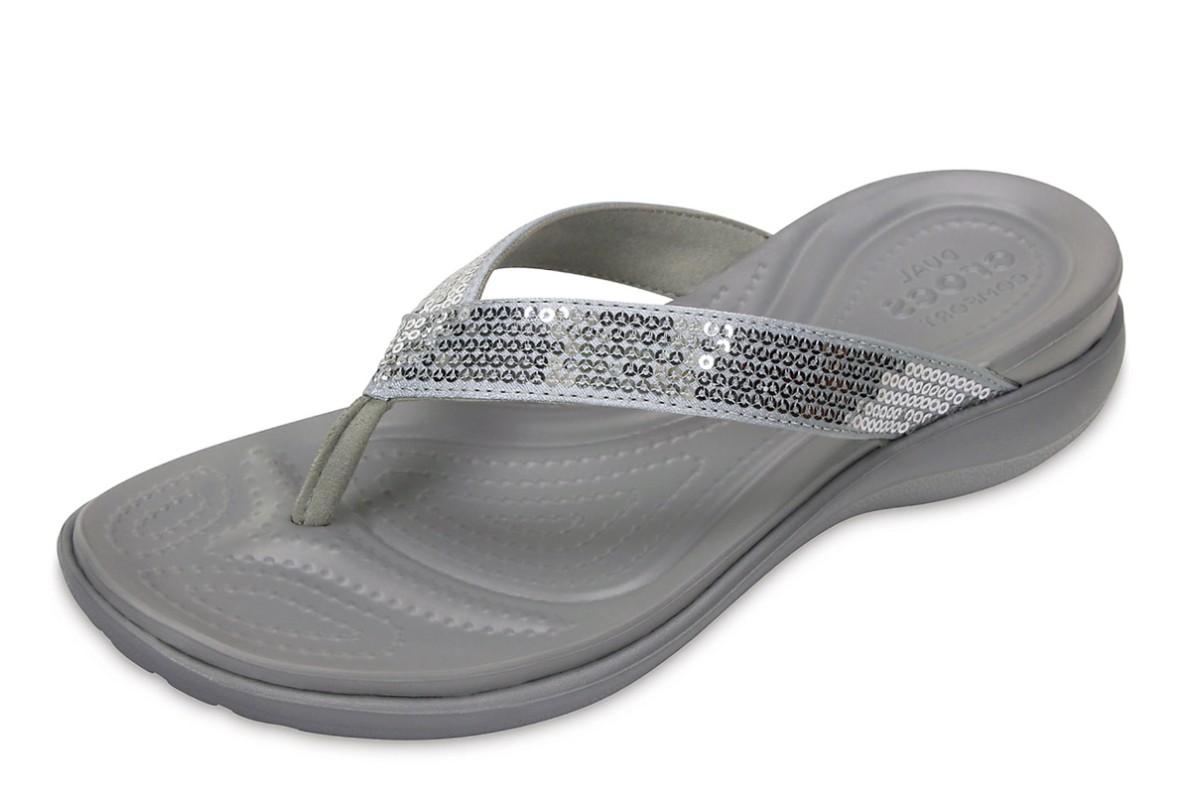 Crocs Capri V Sequin Silver Grey Comfort Flip Flops Sandals