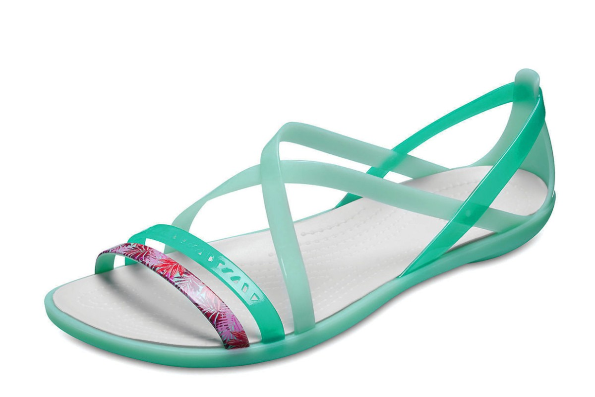 Crocs Isabella Cut Out Graphic Flat Strappy Sandals New Mint Green Oyster