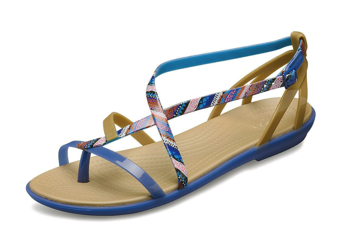 Crocs Isabella Gladiator Graphic Flat Strappy Sandals Blue Jean Gold