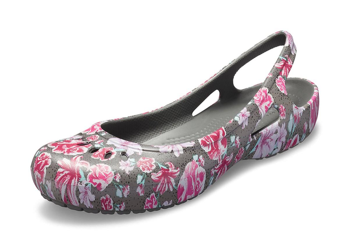 63a74d399dd466 Crocs Kadee Graphic Slingback Slate Grey Pink Floral Flat Comfort Shoes -  KissShoe