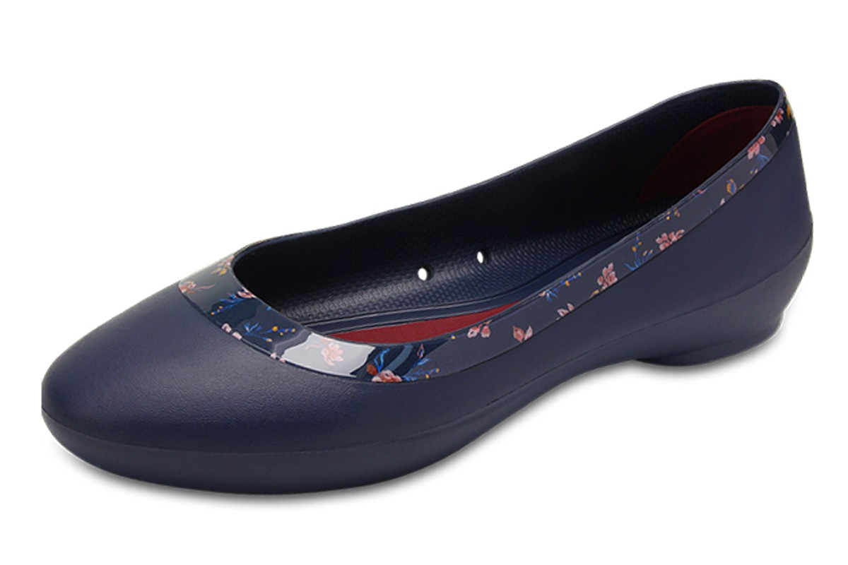 Crocs Lina Shiny Graphic Flat Navy Floral Ballet Shoes
