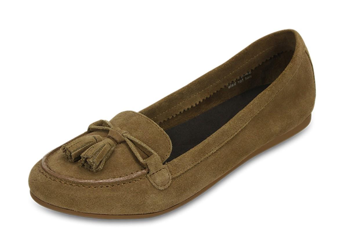 Crocs Lina Suede Loafer Hazelnut Brown Womenu2019s Flat Shoes - KissShoe