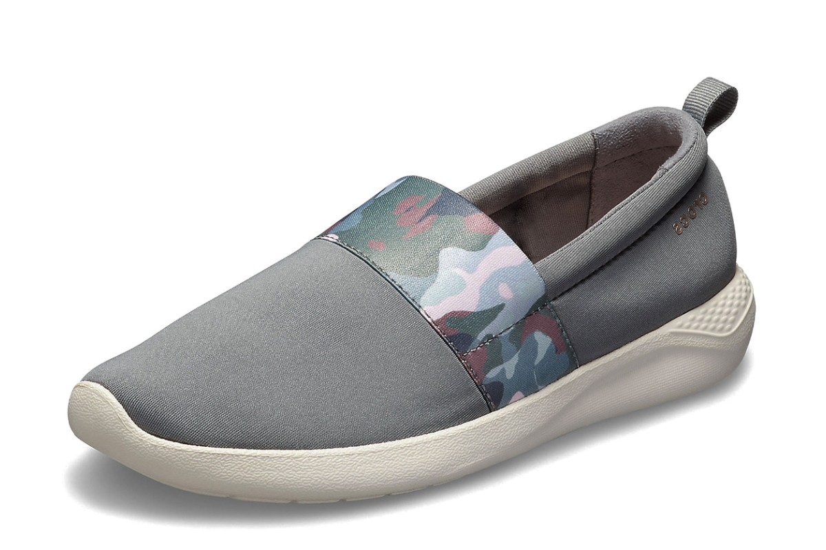 201000ef4 Crocs Literide Graphic Slip On Charcoal Grey Camo Flat Comfort Shoes -  KissShoe