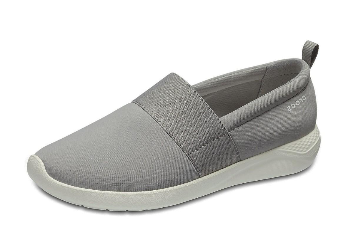 90d6d3b6833c Crocs Literide Slip On Light Grey White Flat Comfort Shoes - KissShoe