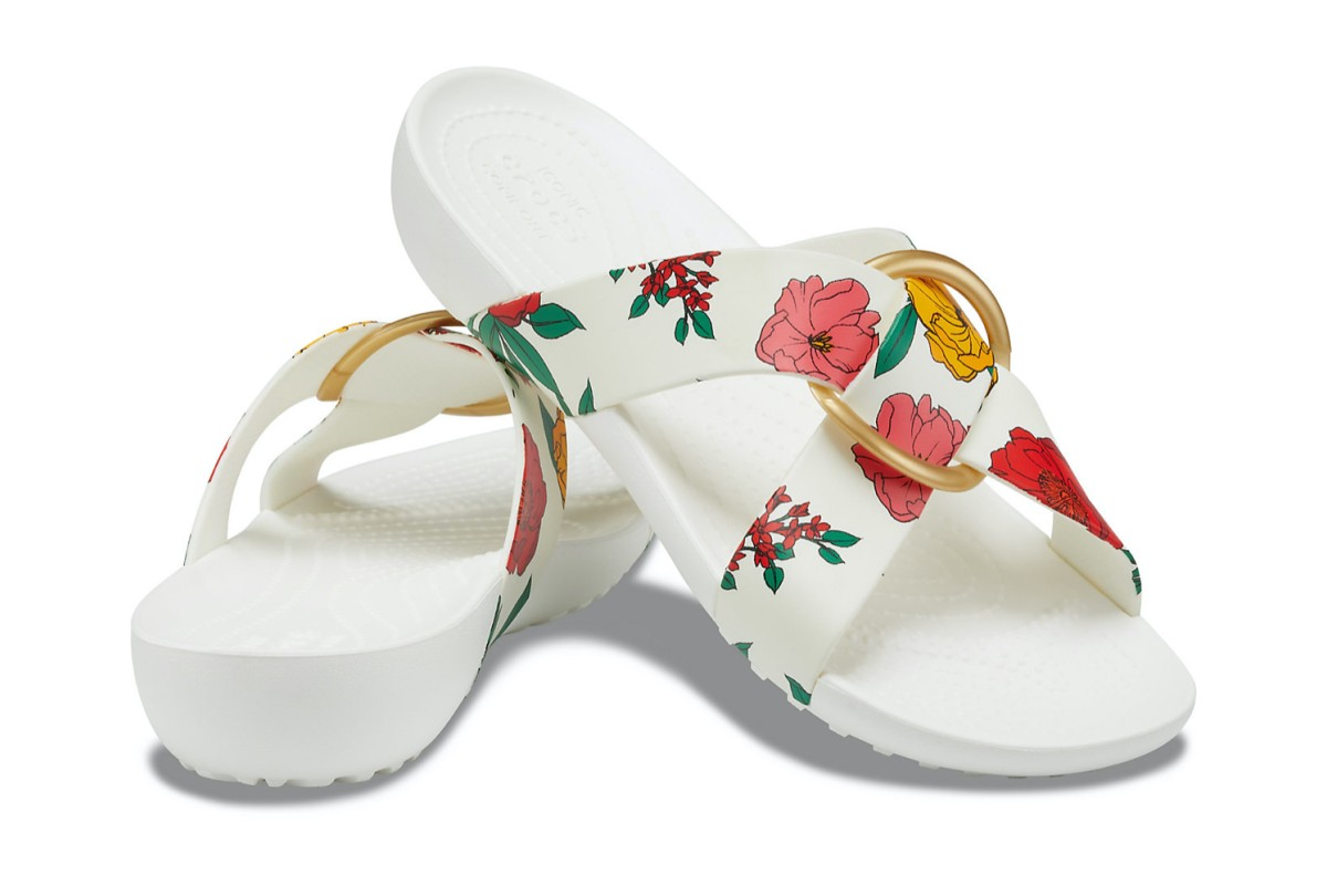 Crocs Serena Printed Crossband Floral Red White Slide Comfort Sandals