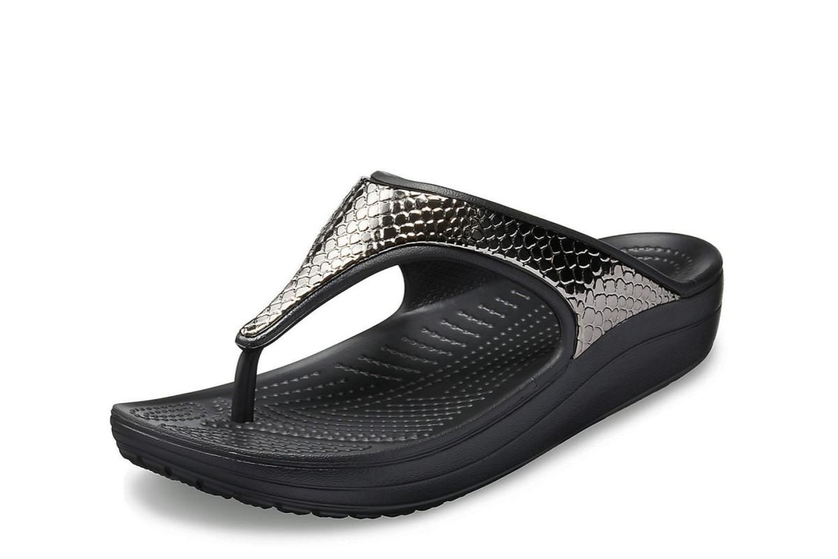 Womens Crocs Sanrah Metalblock Sandals Gunmetal Black Sandal Flip Flop