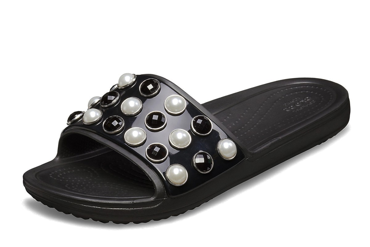 Crocs Sloane Timeless Clash Pearl Slide Black Flat Sandals