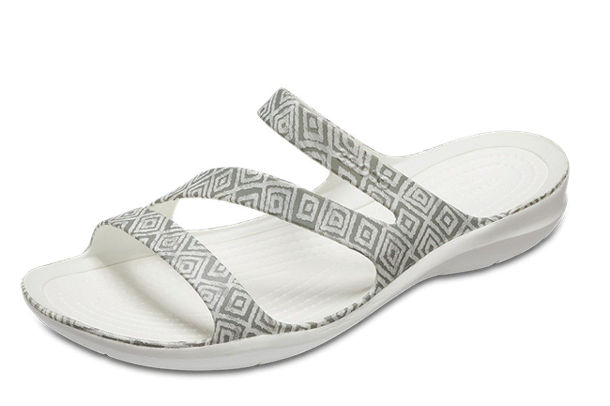 Crocs Swiftwater Graphic Grey Diamond White Flat Comfort Sandals