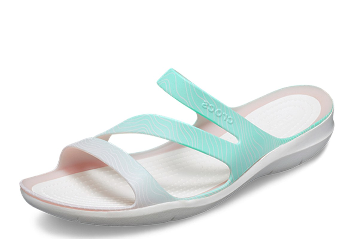 Crocs Swiftwater Seasonal Sandal Women's Pool Ombre White Flat Comfort Sandals