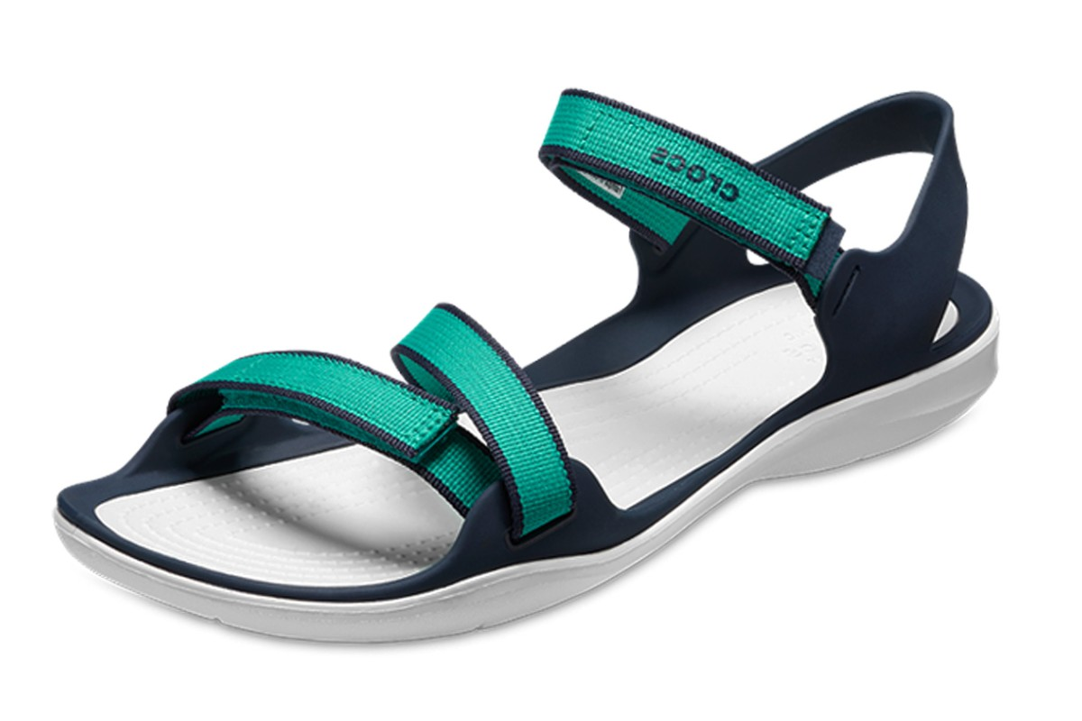 0b372917426b Crocs Swiftwater Webbing Tropical Teal Green Flat Comfort Sandals - KissShoe