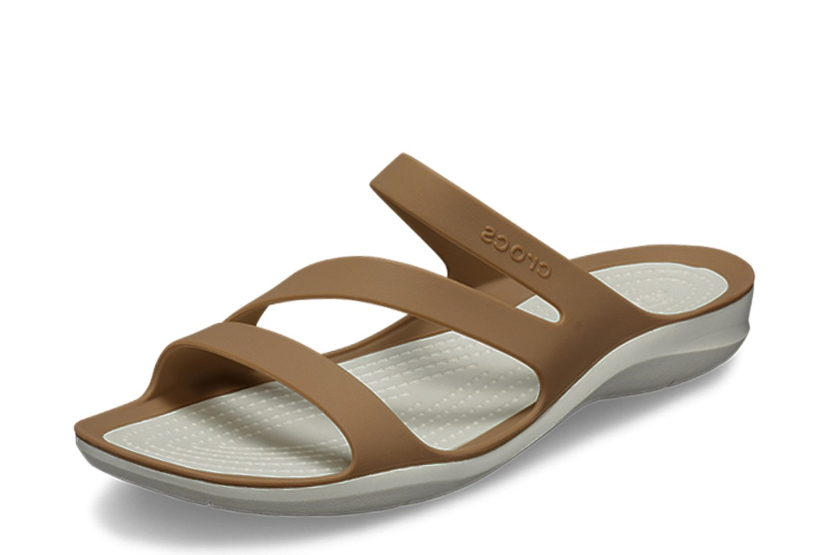 Crocs Swiftwater Women's Bronze Brown Oyster Flat Comfort Sandals