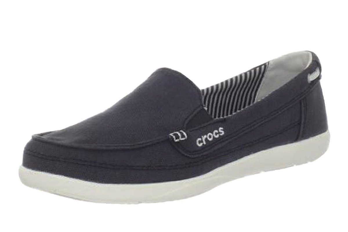 Crocs Walu Black Women's Canvas Flat Loafer Shoes