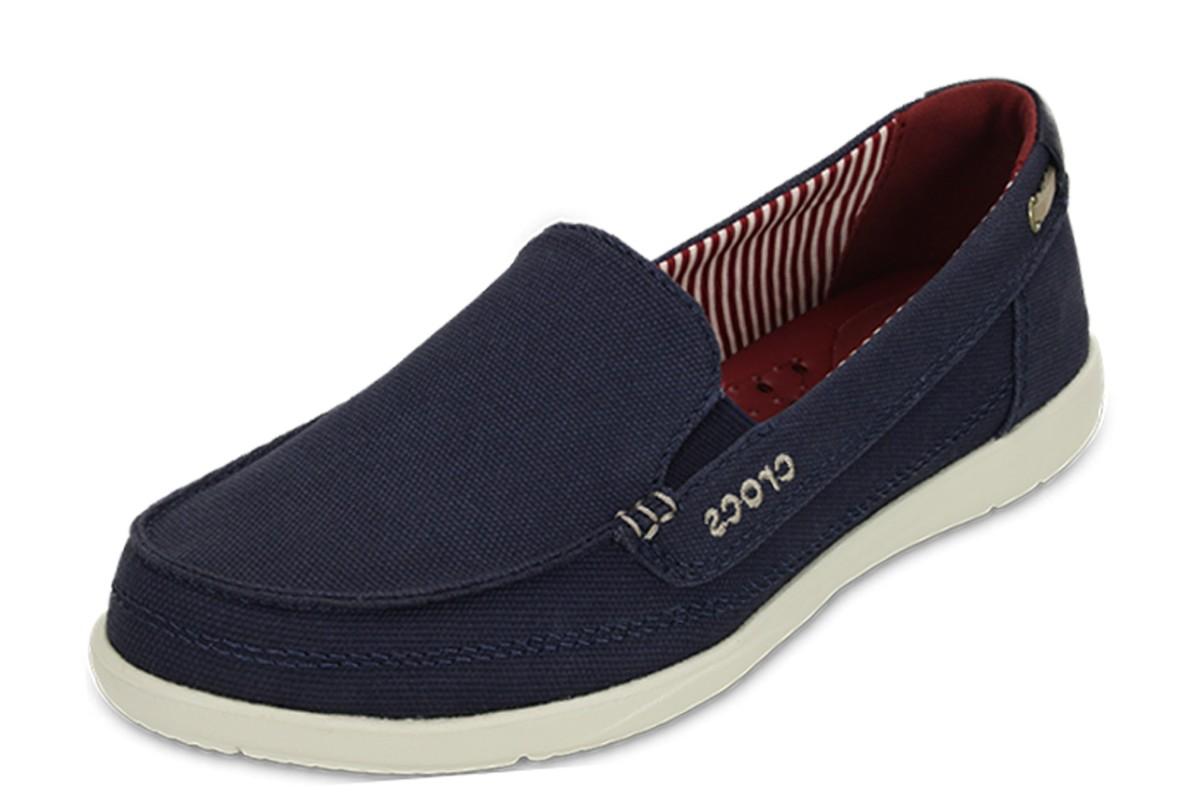 6b8e253cb0f Crocs Walu Navy Women s Canvas Flat Loafer Shoes - KissShoe