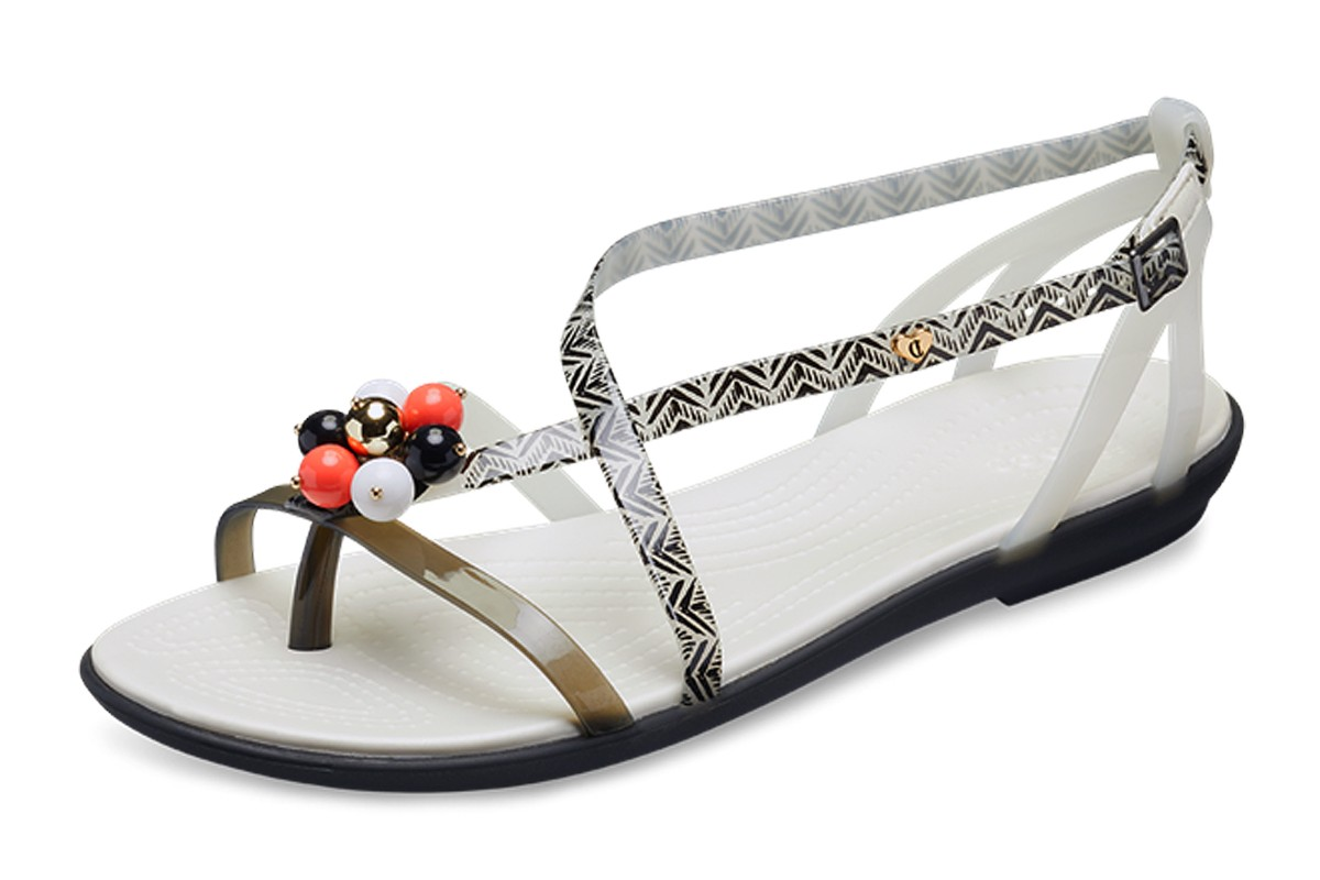 3c102ec1faa63f Crocs x Drew Barrymore Isabella Graphic Black White Flat Comfort Sandals -  KissShoe