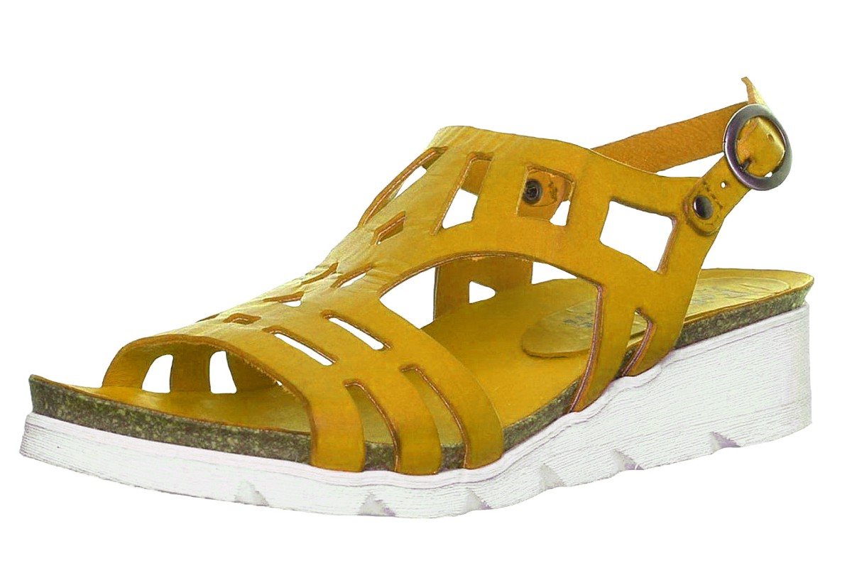 Felmini 8986 Dorini Mustard Yellow Wedge Heel Leather Sandals