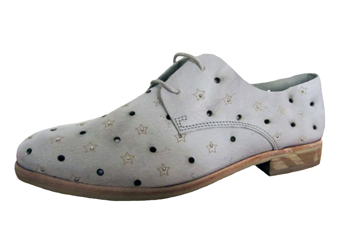 Felmini A014 Cuba Concrete Grey Star Flat Oxford Lace Up Leather Shoes