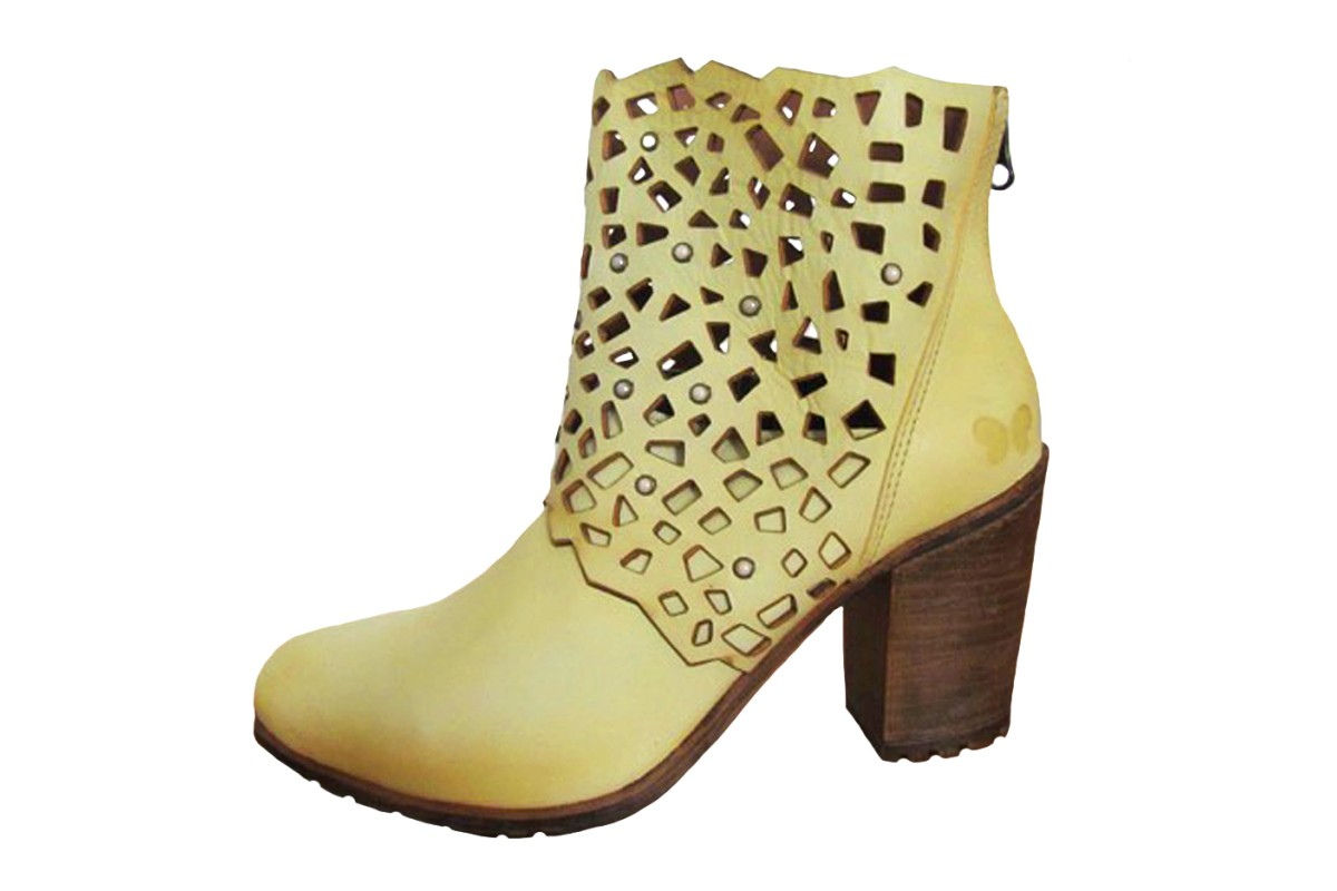Felmini A027 Iris Laser Cut Mustard Yellow High Heel Leather Ankle Boots