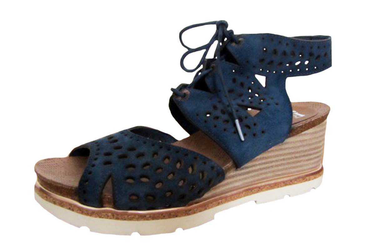 Felmini A161 Sampi Serrage Jeans Blue Wedge Heel Lace Up Suede Sandals