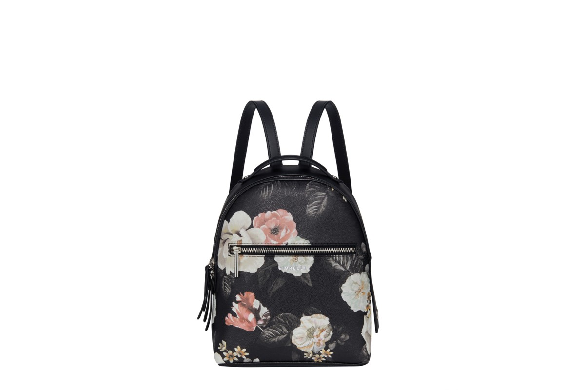 Fiorelli Anouk Finsbury Black Floral Faux Leather Backpack Bag - KissShoe