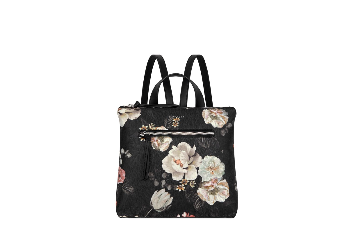 Fiorelli Finley Finsbury Black Floral Small Faux Leather Backpack Bag