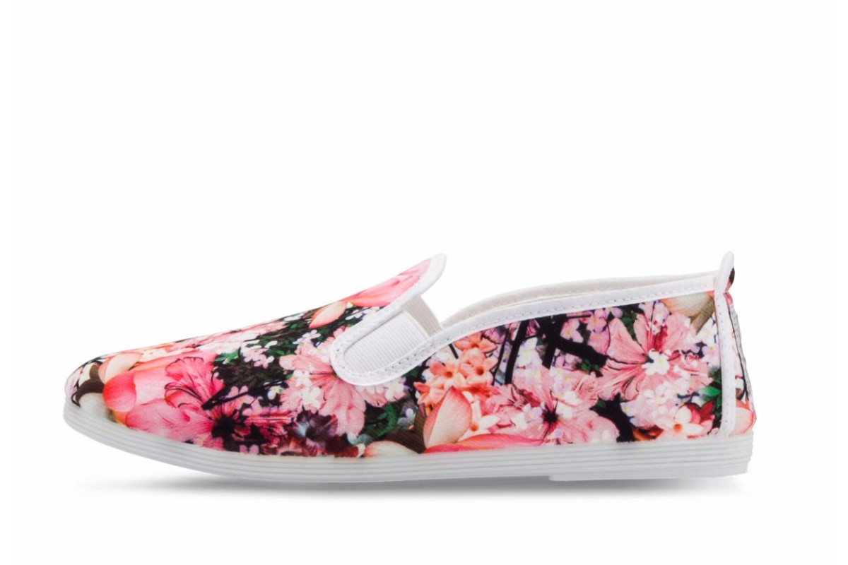 Flossy Lorca Women's White Floral Canvas Slip On Flat Plimsoll Shoes
