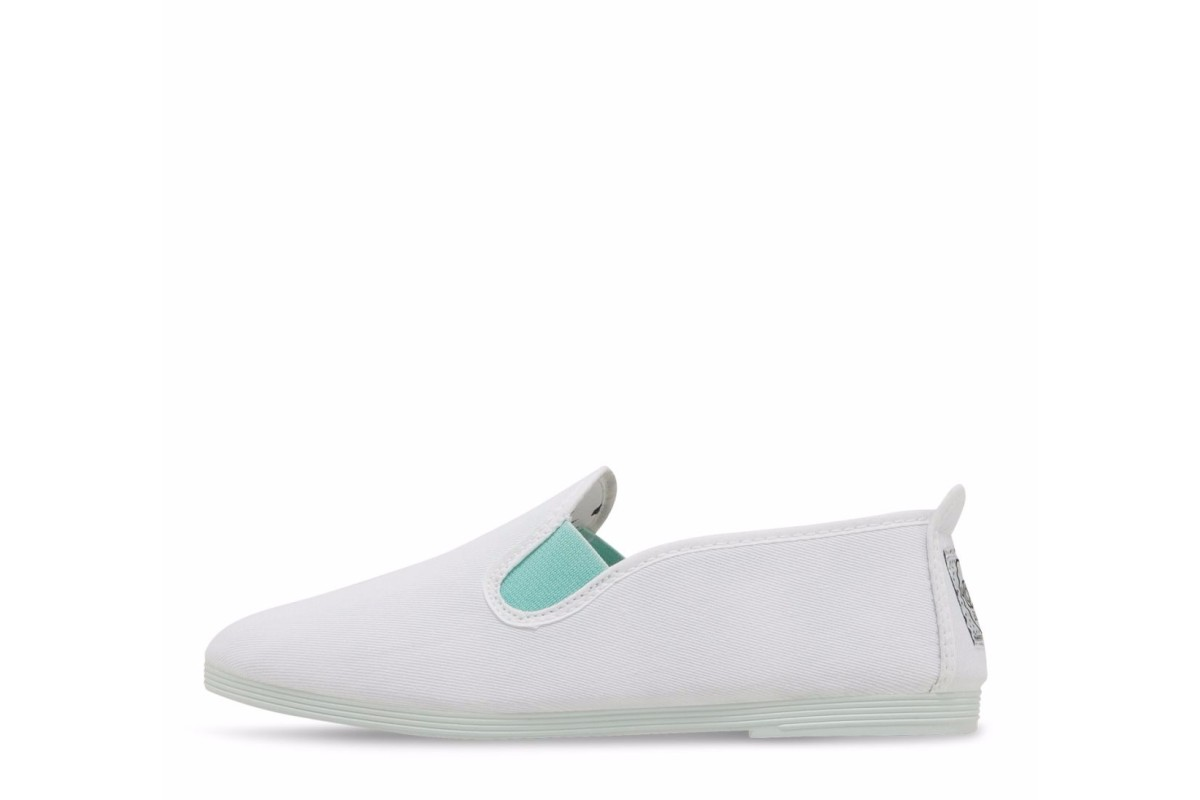 Flossy Women's Menorca White Aqua Slip On Flat Plimsoll Shoes