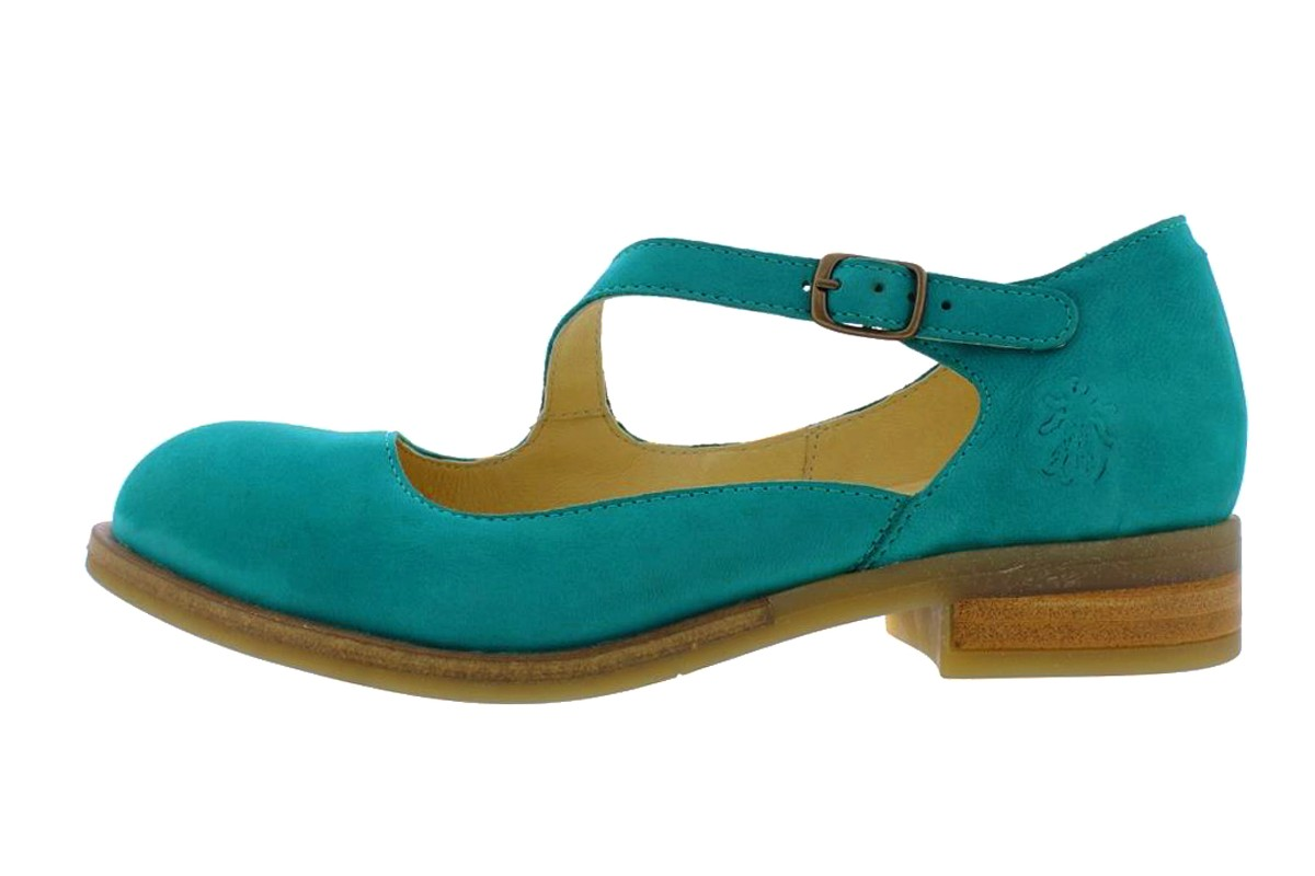 Fly London Alky Verdigris Teal Leather Asymmetric Strap Low Heel Shoes