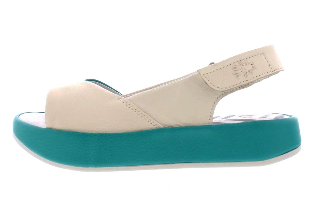 d34e50dbda74 Fly London Bari Off White Verdigris Teal Leather Open Toe Platform Sandals  - KissShoe