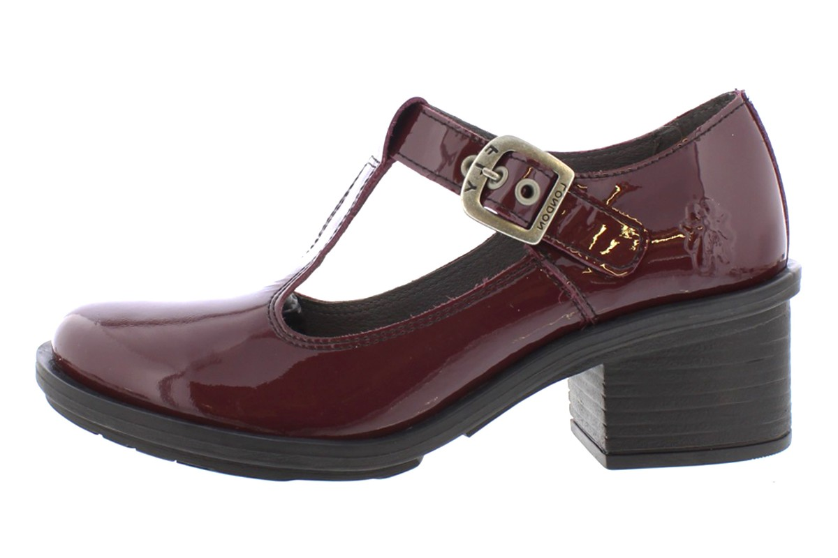 Fly London Cady Purple Brown Patent Mid Heel T Bar Shoes