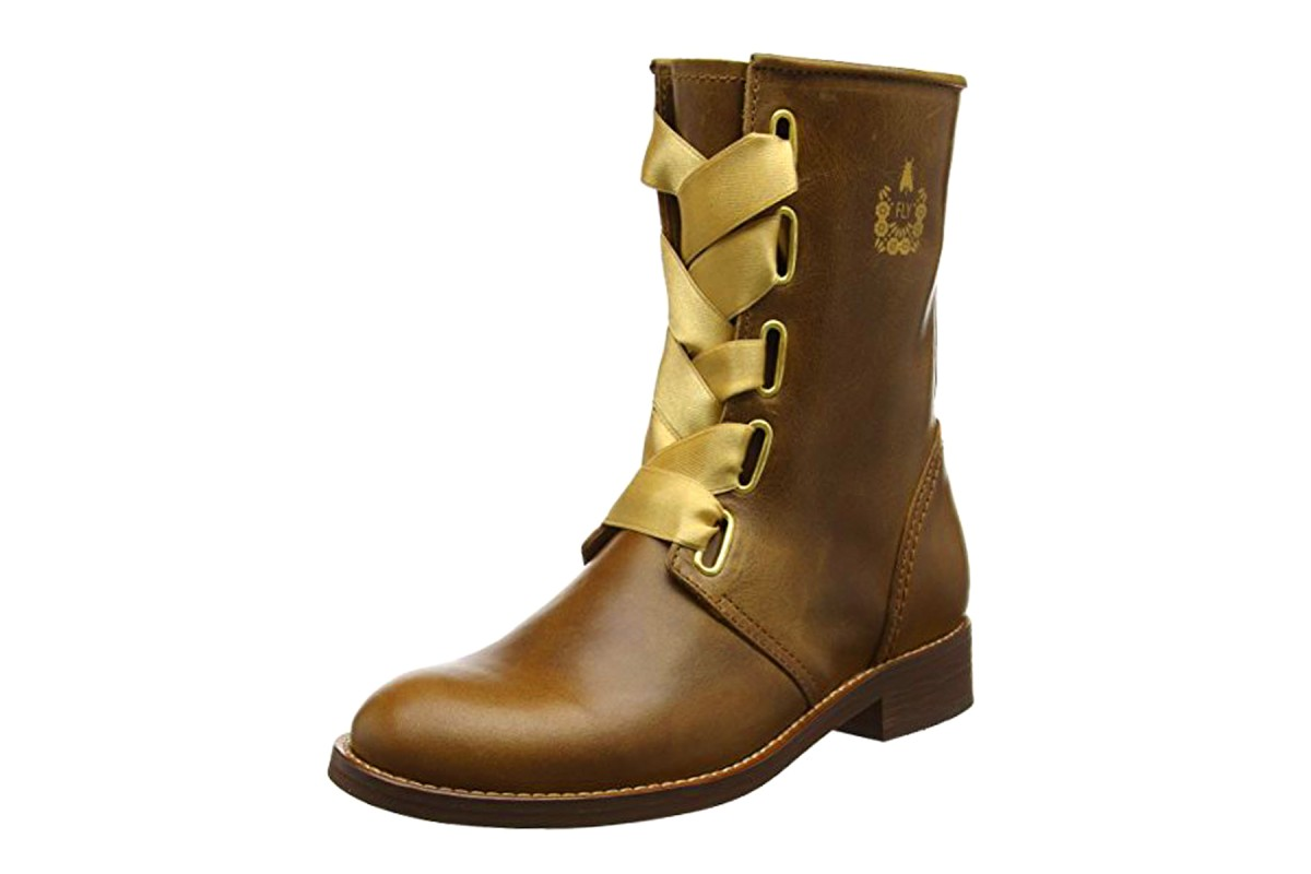 Fly London Cristina Rodrigues Dwell 01 Camel Tan Leather Lace Up Flat Ankle Boots