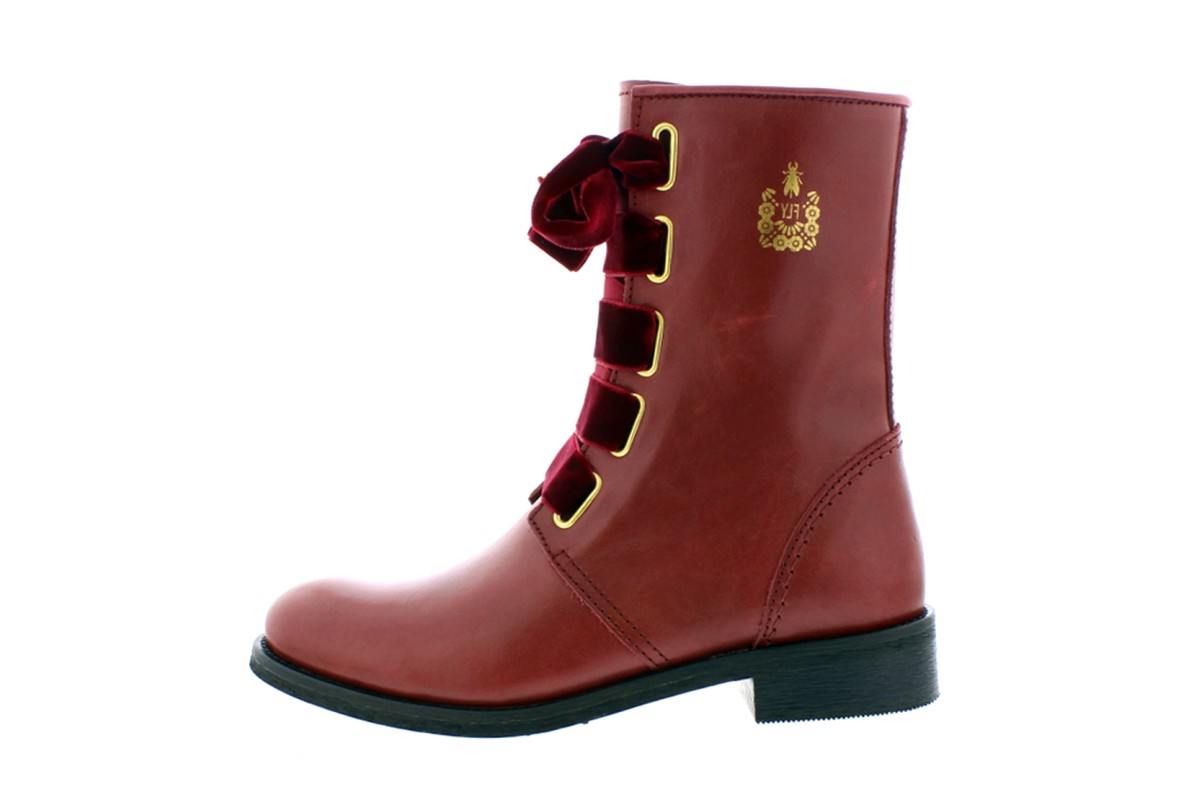 Fly London Cristina Rodrigues Dwell 01 Wine Burgundy Leather Lace Up Flat Ankle Boots