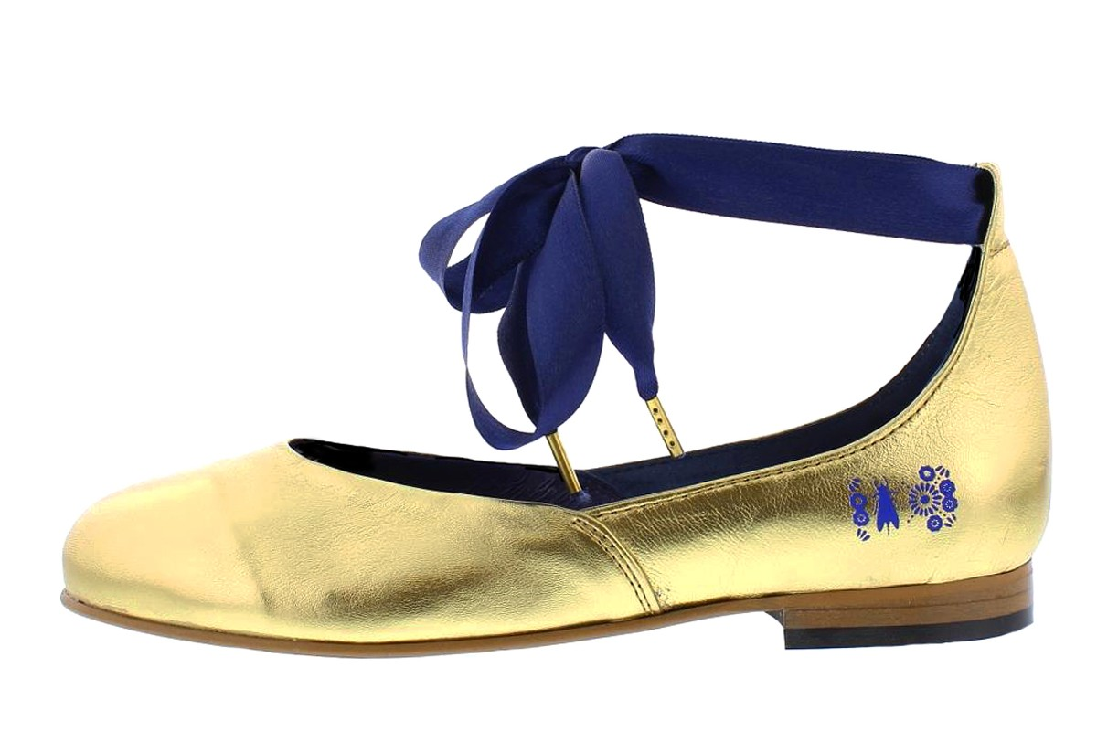 Fly London Cristina Rodrigues Dwell 02 Gold Leather Ankle Strap Flat Shoes