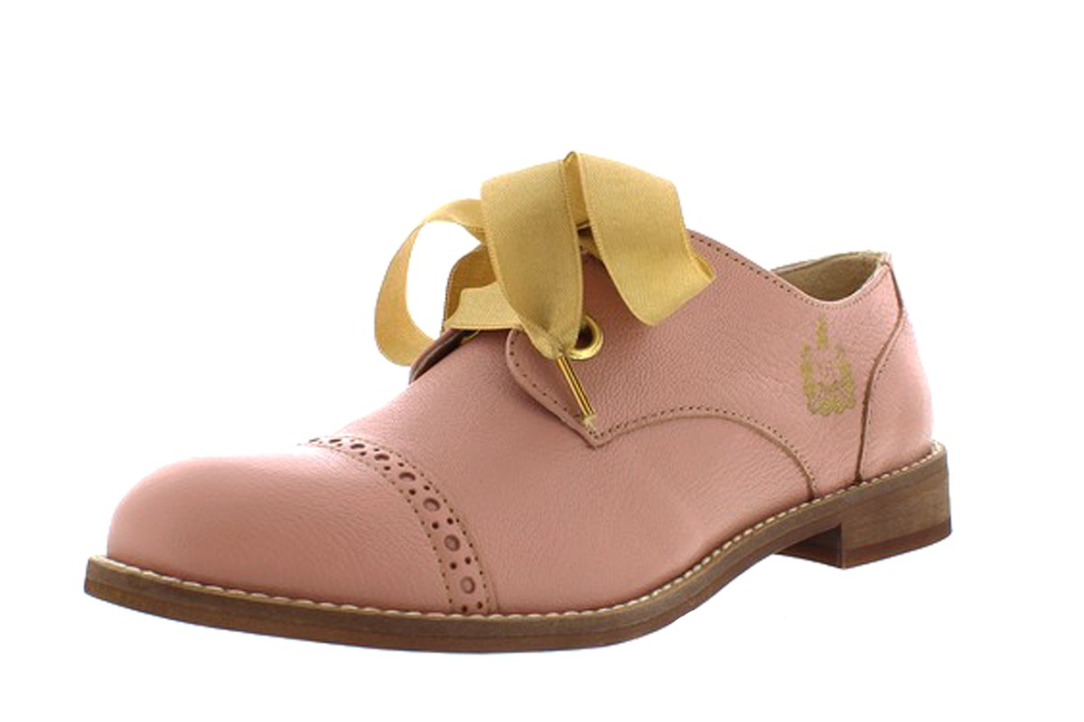 Fly London Cristina Rodrigues Dwell 03 Rose Pink Leather Lace Up Oxford Brogue Shoes