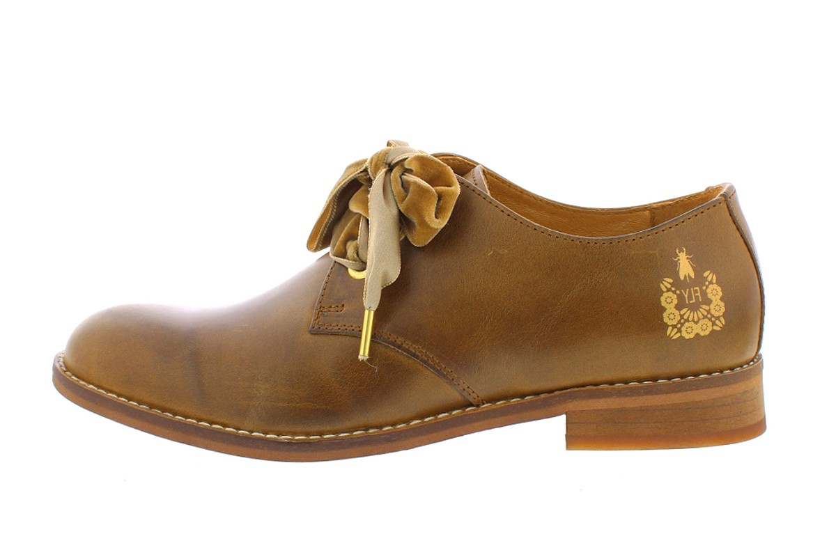 Fly London Cristina Rodrigues Dwell 04 Camel Tan Leather Lace Up Oxford Flat Shoes