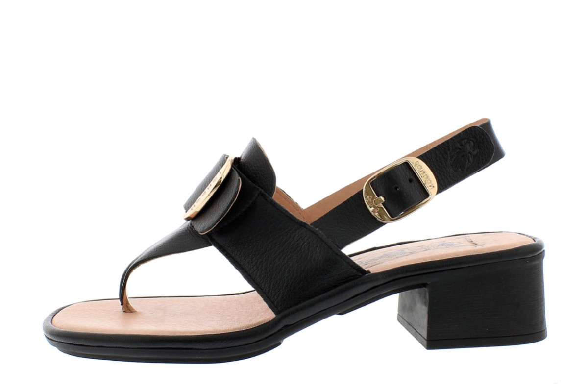 Fly London Emat Black Genuine Leather Block Heel Toe Post Buckle Sandals
