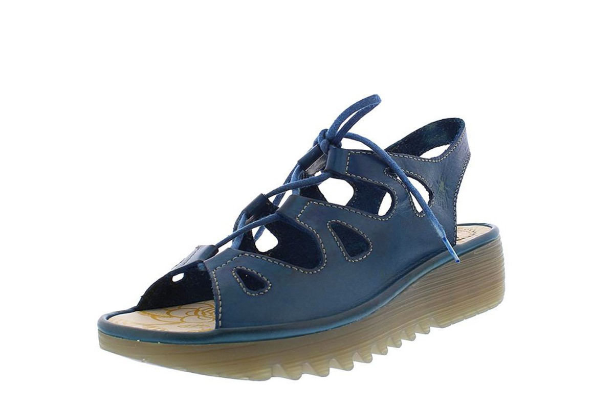 Fly London Exon Blue Leather Lace Up Wedge Heel Open Toe Sandals