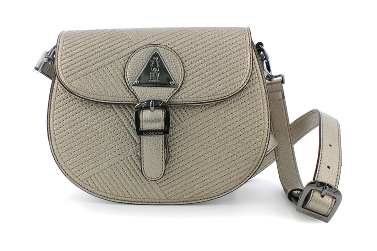 Fly London Kadi Silver Quilted Crossbody Shoulder Bag